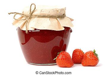 Strawberry jam jar - Homemade strawberry jam in a jar ...