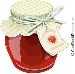 Strawberry jam jar. Vintage style