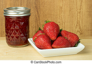 Strawberry jam or jelly with strawberries