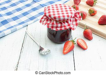 Strawberry jam - Traditional homemade jam and strawberries