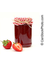 Strawberry jam - Traditional strawberry jam and strawberries