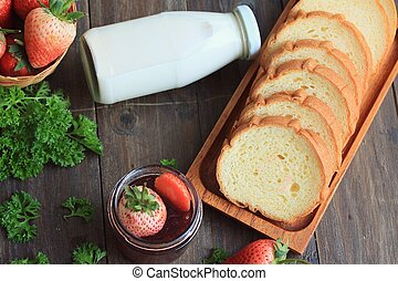 Strawberry jam with bread