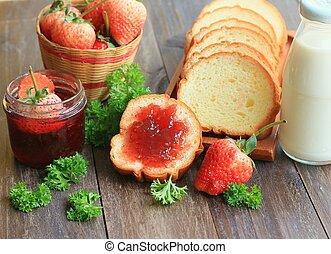 Strawberry jam with bread