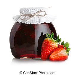 Strawberry jam with ripe strawberries isolated on white ...
