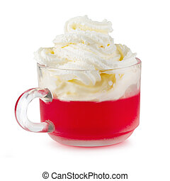 Strawberry jelly in a glass with cherries and whipped cream isolated on white background