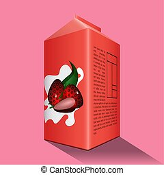 Strawberry juice box on a colored background - Vector