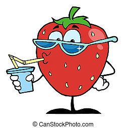 Thirsty Strawberry Drinking Juice And Wearing Shades