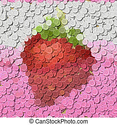 Strawberry juice sewing buttons image generated background