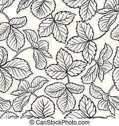 strawberry leaves seamless pattern