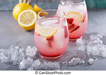 Strawberry lemonade with rose water