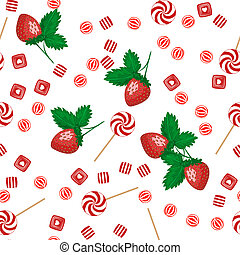 Strawberry lollipops, candy and chewing gum seamless pattern...