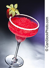 Strawberry margarita Cocktail in front of different colored...