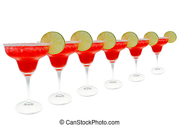 strawberry Margaritas in a row isolated on white