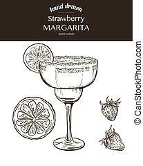 Strawberry Margarita. Vector sketch illustration of...