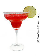 strawberry margarita with a lime isolated on white