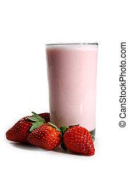 strawberry milk shake - strawberry milkshake with fresh...