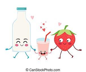 Strawberry Milkshake Cute Family Characters