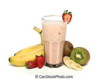 Strawberry milkshake with fruits composition