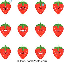 Strawberry modern flat emoticon set