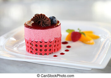 strawberry mousse cake with fruit