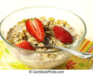 Strawberry muesli - Appetizing strawberry muesli with yogurt...