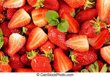 strawberry-, oberseite, erdbeer, frisch, auf, ansicht, schließen
