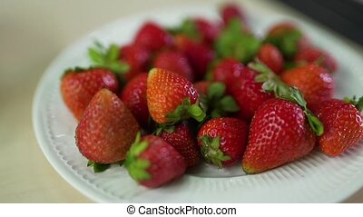 Strawberry on a plate close up