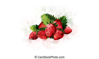 Strawberry on a transparent background - Animation of the...
