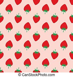 Strawberry on pink background. Seamless Pattern.
