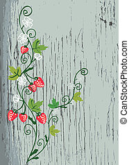 Strawberry on the wood texture background