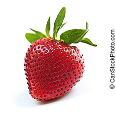 Strawberry on white background - Single fresh strawberry...