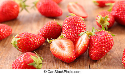 strawberry on wood background