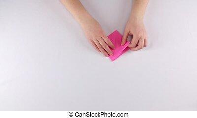 Strawberry origami. White. Time lapse - Strawberry origami,...