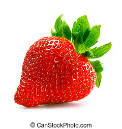 Strawberry over white background