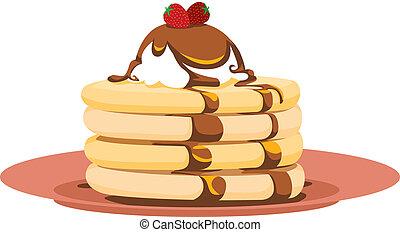Strawberry Pancake Illustration - Breakfast icon of a ...