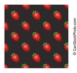 Strawberry pattern on a black background.