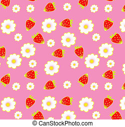 Strawberry pattern on pink backgrou