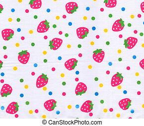 Strawberry pattern on white fabric background
