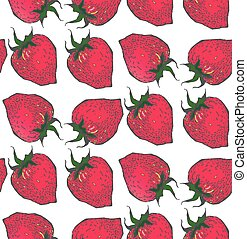 Strawberry pattern.in style sketch