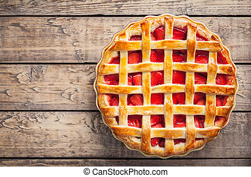 Strawberry pie cake pastry sweet traditional food