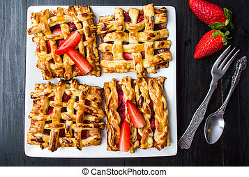 Strawberry pie with fresh fruit on a plate