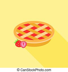 Strawberry pie with strawberries, flat design