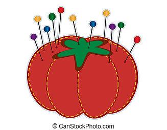 Strawberry Pin Cushion - Strawberry pin cushion, glass head...