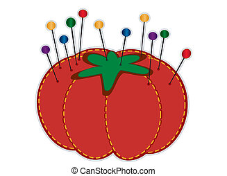 Strawberry pin cushion, glass head straight pins in jewel colors isolated on white. For sewing, tailoring, quilting, crafts, needlework, do it yourself projects. Isolated on white. EPS8 compatible.