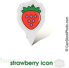 Strawberry pin map icon. Strawberry fruit sign