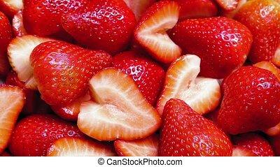 Delicious strawberry platter turning slowly