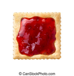 Strawberry Preserves on a Saltine Cracker isolated on a...