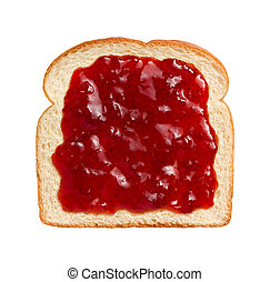 Strawberry Preserves on Bread - Aerial view of bright red...