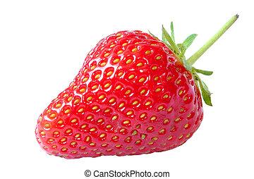 strawberry, pure white background