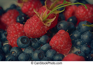 Strawberry, raspberry and blueberry